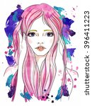 portrait of a girl with pink... | Shutterstock . vector #396411223