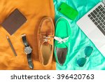 two casual shoes of different... | Shutterstock . vector #396420763