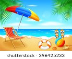 beach and tropical sea with... | Shutterstock .eps vector #396425233