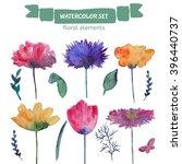 watercolor floral elements.... | Shutterstock . vector #396440737