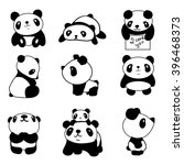 set of stylized pandas in...