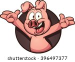 cartoon pig coming out of a...
