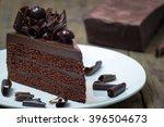 closeup triangle slice piece of ... | Shutterstock . vector #396504673
