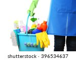 woman holding cleaning tools... | Shutterstock . vector #396534637