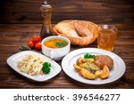 business lunch with soup  salad ... | Shutterstock . vector #396546277