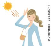 woman who takes ultraviolet... | Shutterstock .eps vector #396565747
