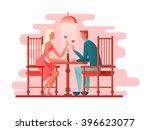 romantic dinner a couple of... | Shutterstock .eps vector #396623077