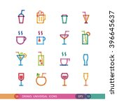 set drink universal icon with... | Shutterstock .eps vector #396645637