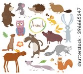 wild and forest vector animals... | Shutterstock .eps vector #396665347