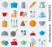set of kitchenware flat icons... | Shutterstock . vector #396668293