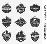 Set of retro styled vector mountain and outdoor adventures logo. Tourism, hiking and camping labels. Mountains and travel icons for tourism organizations, outdoor events and camping leisure. | Shutterstock vector #396671197
