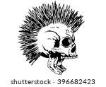 vector illustration punk skull...