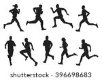 running black silhouette set.... | Shutterstock .eps vector #396698683