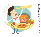 vector illustration funny chef... | Shutterstock .eps vector #396700627