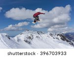flying snowboarder on mountains.... | Shutterstock . vector #396703933