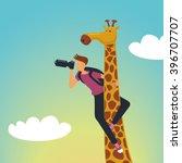 safari. photographer with a... | Shutterstock .eps vector #396707707