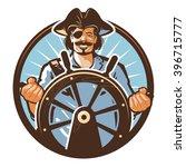 pirate ship vector logo. jolly... | Shutterstock .eps vector #396715777