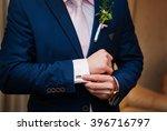 hands of wedding groom in a... | Shutterstock . vector #396716797