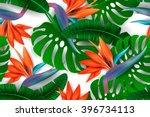 strelitzia pattern. tropical... | Shutterstock .eps vector #396734113