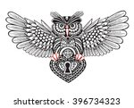 technological owl with spread... | Shutterstock .eps vector #396734323
