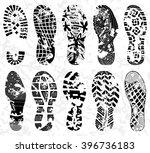 grunge shoe tracks  ... | Shutterstock .eps vector #396736183