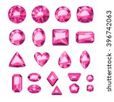 set of flat style pink jewels.... | Shutterstock .eps vector #396742063