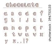 chocolate hand draw alphabet.... | Shutterstock .eps vector #396753133