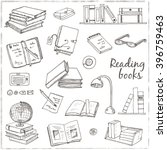 hand drawn doodle books reading ... | Shutterstock .eps vector #396759463