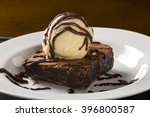 chocolate brownie with vanilla... | Shutterstock . vector #396800587