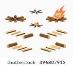 campfire and firewood. 3d... | Shutterstock .eps vector #396807913