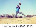 boy catching a baseball ... | Shutterstock . vector #396811513