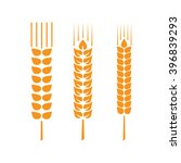 set of wheat ears or rice.... | Shutterstock .eps vector #396839293
