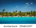 palm trees on the tropical... | Shutterstock . vector #396841507