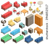 isometric furniture set | Shutterstock .eps vector #396852517