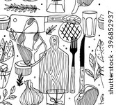 seamless meat pattern. meat... | Shutterstock .eps vector #396852937