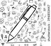 pen and line with group of hand ... | Shutterstock .eps vector #396853447