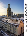 Stock photo belltower of aegidienkirche in hannover germany 396863017