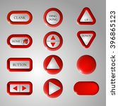 set of red vector buttons on a...