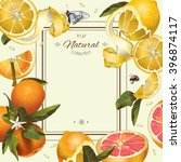 vector vintage citrus frame... | Shutterstock .eps vector #396874117