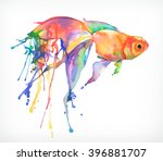 goldfish. watercolor painting.... | Shutterstock .eps vector #396881707