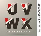 alphabet font template. set of... | Shutterstock .eps vector #396885247