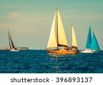 yachts sailing at waves of the... | Shutterstock . vector #396893137