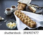 homemade braided garlic challah ... | Shutterstock . vector #396907477
