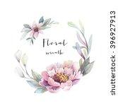 watercolor floral wreath   Shutterstock . vector #396927913