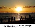 sunset of waikiki hawaii | Shutterstock . vector #396928717
