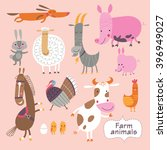 Cute Farm Animals On A Pink...