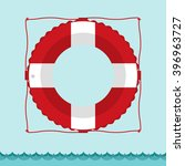 lifebuoy icon in flat style...   Shutterstock .eps vector #396963727