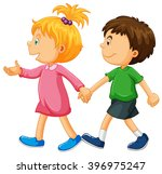 boy and girl holding hands... | Shutterstock .eps vector #396975247