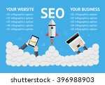 vector flat seo banner on blue... | Shutterstock .eps vector #396988903