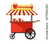 popcorn cart carnival store and ... | Shutterstock .eps vector #397006183
